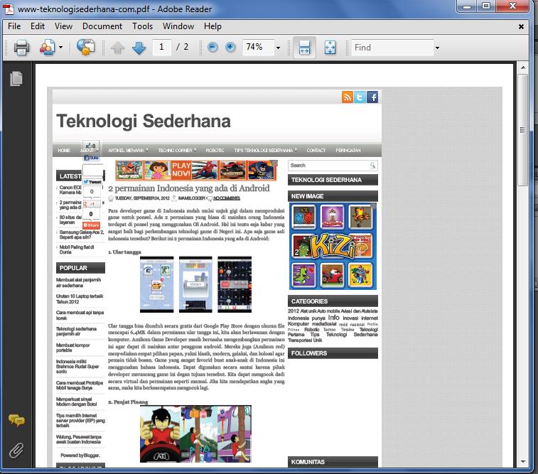 menyimpan halaman website dengan pdf agri industri