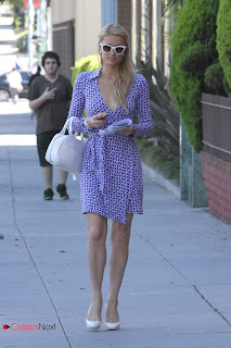 Paris Hilton Pictures in Purple Short Dress Out in Beverly Hills 0003