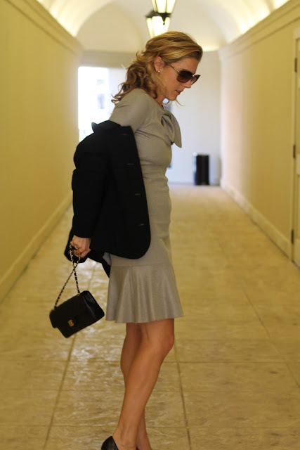 the Queen City Style, Giorgio Armani Dress from summerbird, Tory Burch Pumps, Chanel Bag, Great-Grandmother's Jacket and Bracelets, Blinde Sunglasses