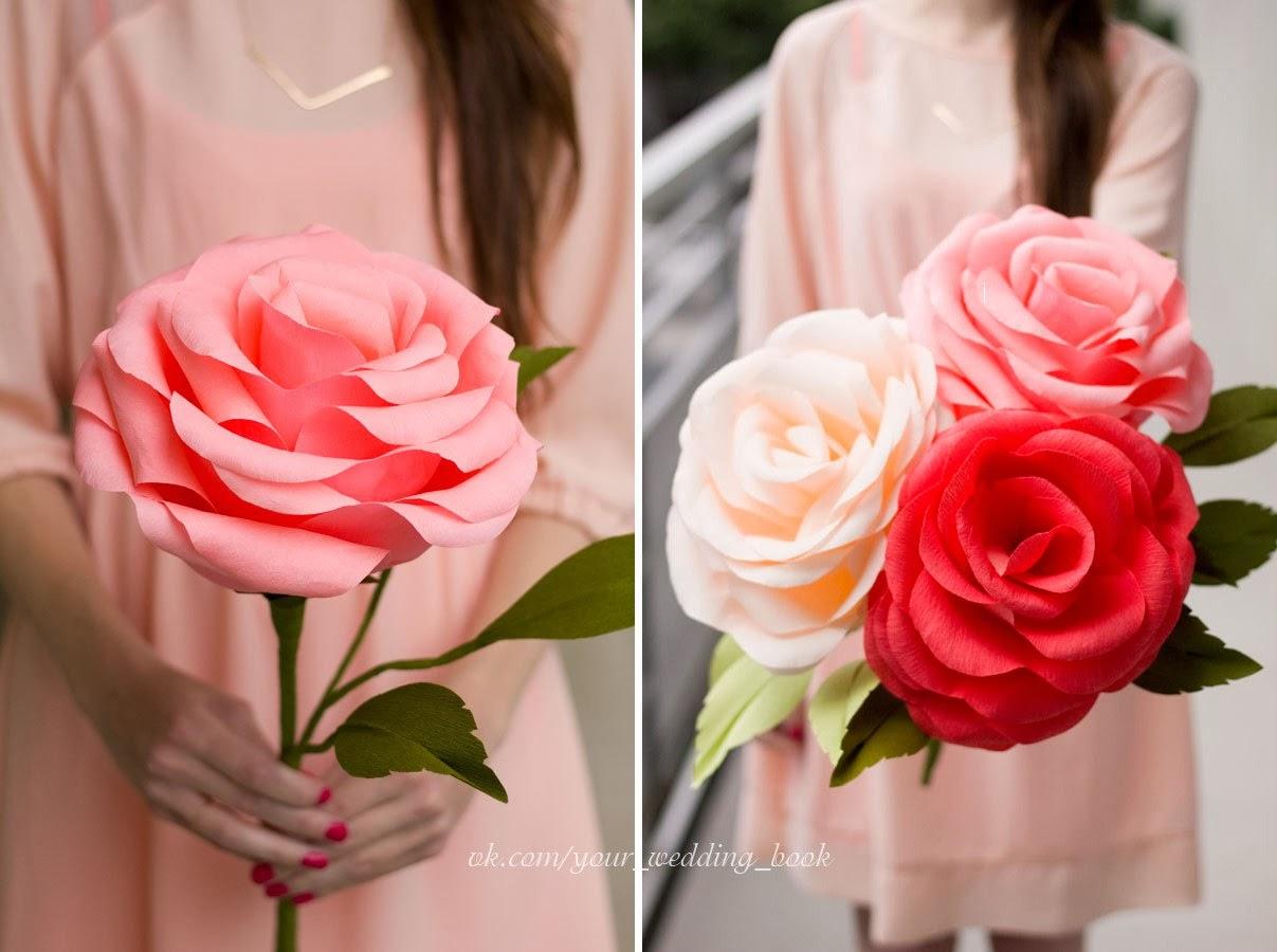 Гигантские розы из креповой бумаги своими руками мастер класс 100