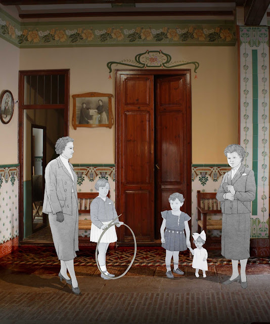 Entrada, casa, huerta, mujeres, burguesia, museo, Torrente, dibujo