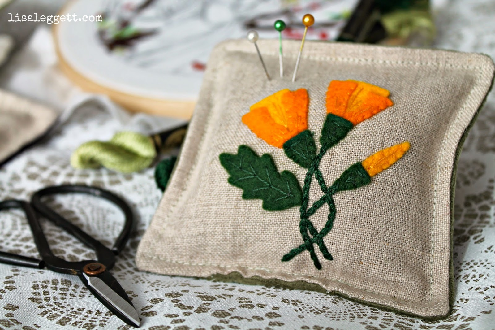 Linen California Poppy Pincushion
