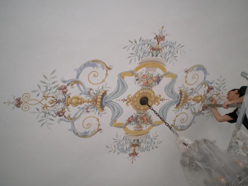 Soffitti A Volta Decorazioni : Decorazione murale soffitto a volta dipinto a calce faux