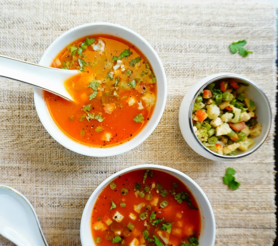 scrumptious indian recipes how to make tomato soup with veggies. Black Bedroom Furniture Sets. Home Design Ideas