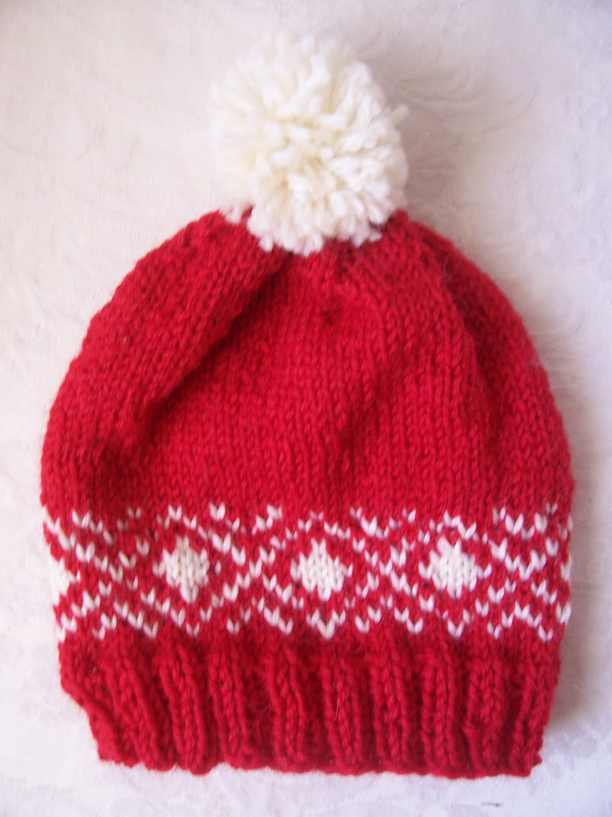 Knitted Throws Free Patterns : Knitting for Peace: Red and White Fair Isle Childs Hat