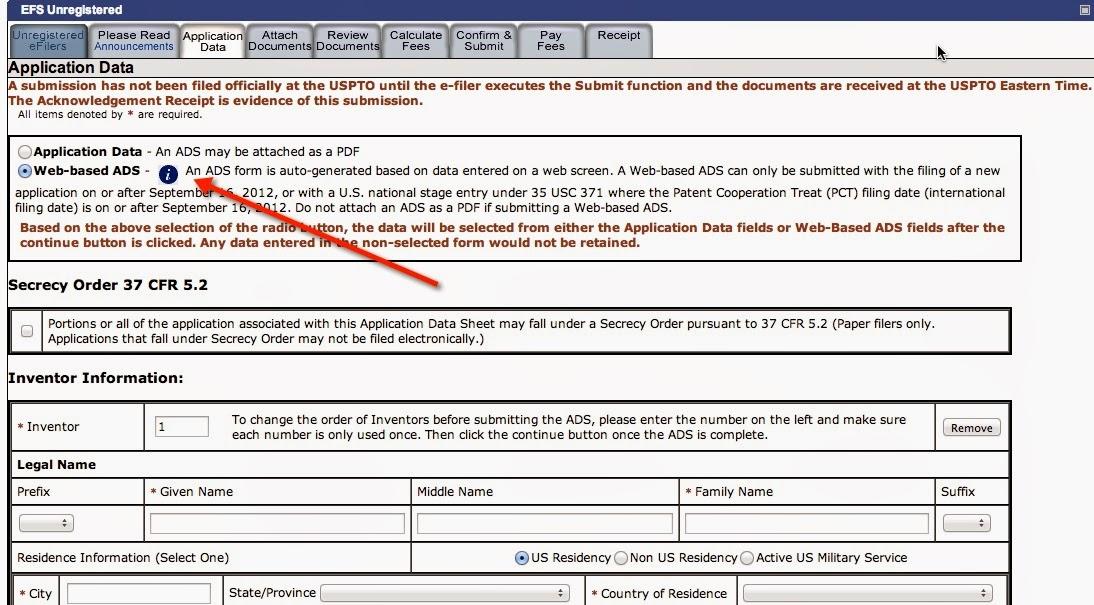 utility patent application transmittal form