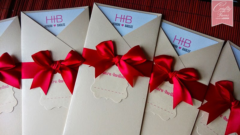 Modern Typography Pocket Wedding Card with Classy Red Ribbon Bow