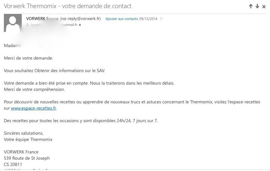 Les thermoaddicts thermomix mauvaise qualit test du service client chapi - Service client thermomix ...