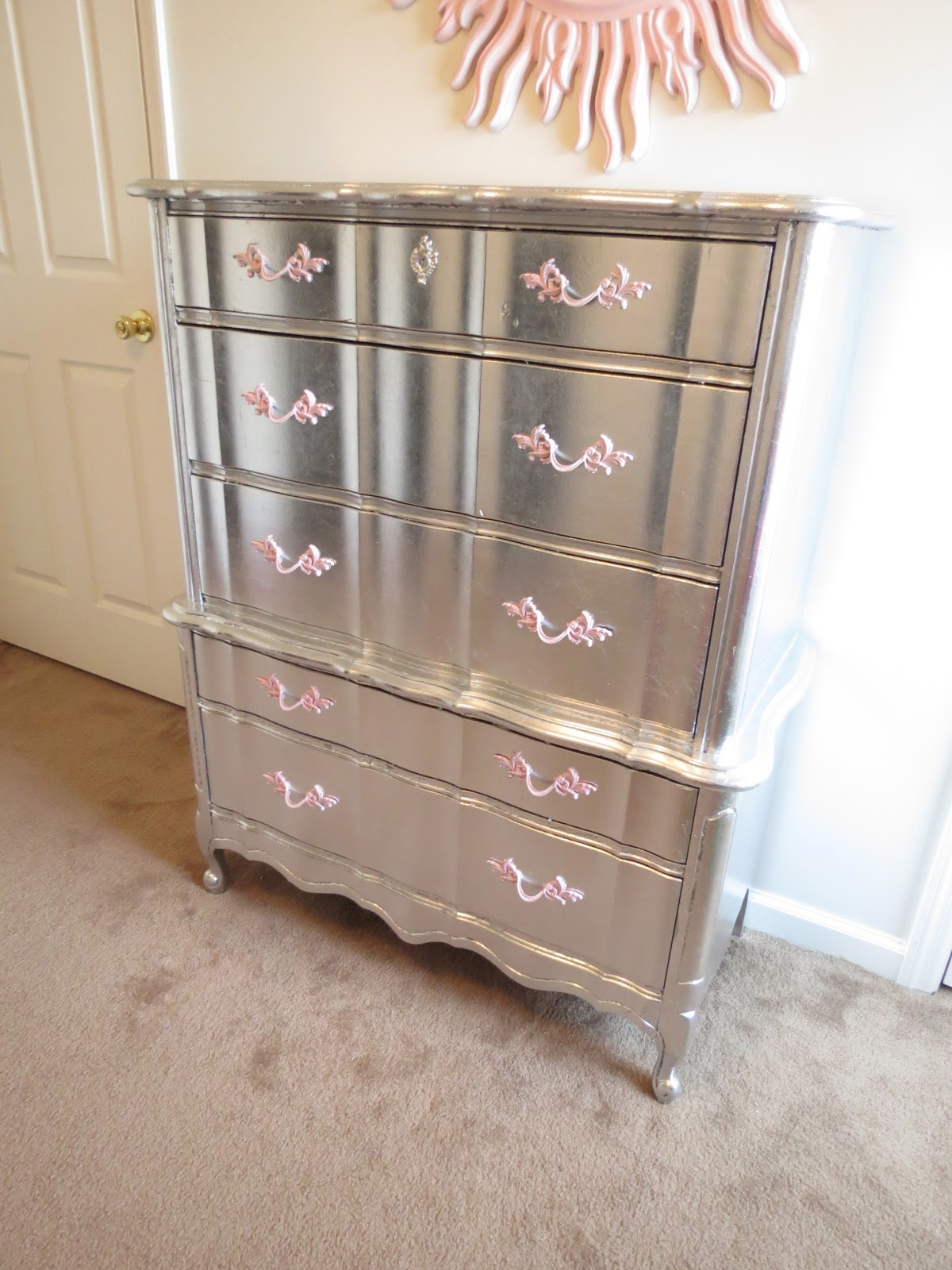 Aluminum silver leafed french provincial furniture for Diy paint