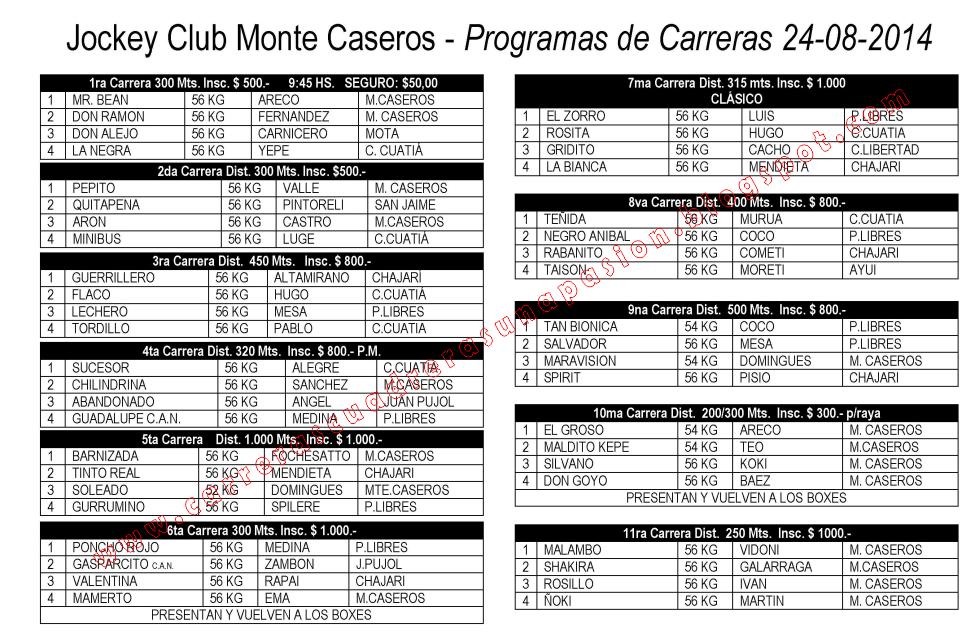 MONTE CASEROS - PROGRAMA 24.08.2014