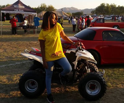 BBAfrica The Chase Winner Dillish Mathews Shows Quad Bike