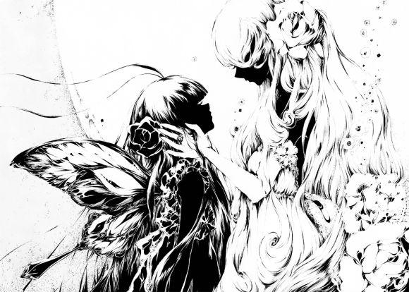 Charmal ilustrações mulheres garotas estilo anime mangá A deusa da lua e a borboleta negra