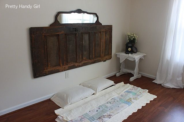 Old door and mirror bedroom headboard via Funky Junk Interiors