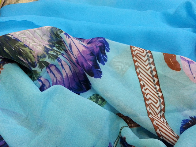 shawl chiffon 2 layer printed tree sky blue