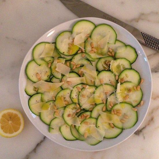 zucchini-carpaccio, fresh zucchinni, garden recipes