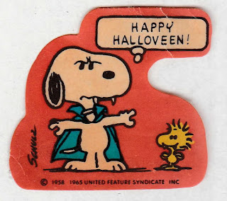 Vintage vampire Snoopy and Woodstock Happy Halloween sticker