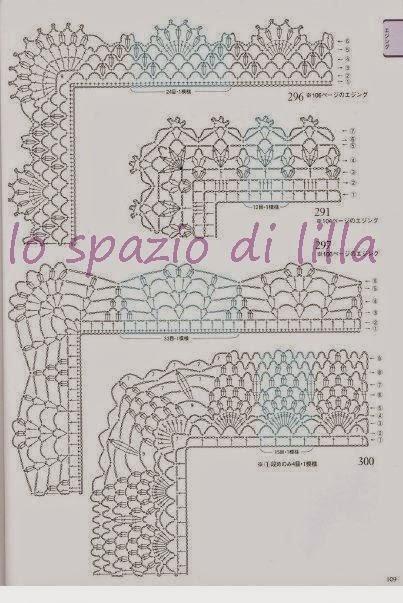 Lo spazio di lilla schemi di bordi crochet con angoli for Bordi uncinetto schemi