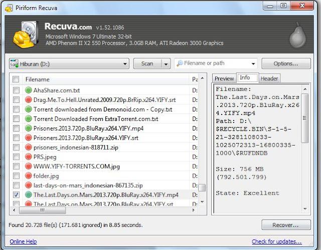 Cara mengembalikan file yang terhapus 10