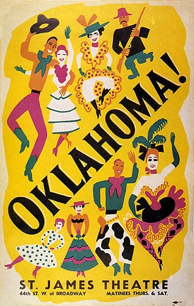 Image result for oklahoma opened on broadway