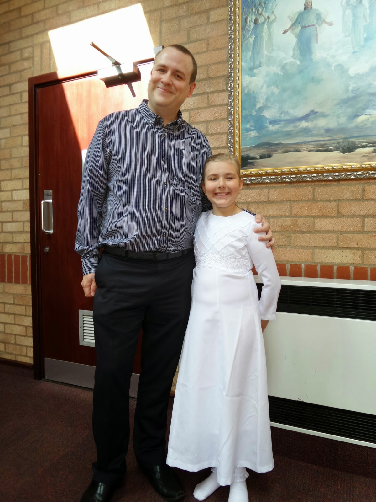 Daddy and Top Ender ready for her Baptism