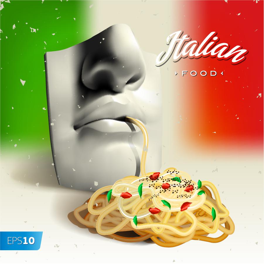 パスタを食べる立体的なマスク 3d mask eats pasta noodles イラスト素材