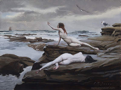 Painting of the Sirens dying on the rocks