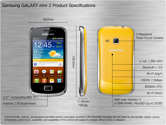 galaxy mini 2 features specs s6500