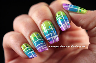 glitter sequin gradient neon stripe nail art