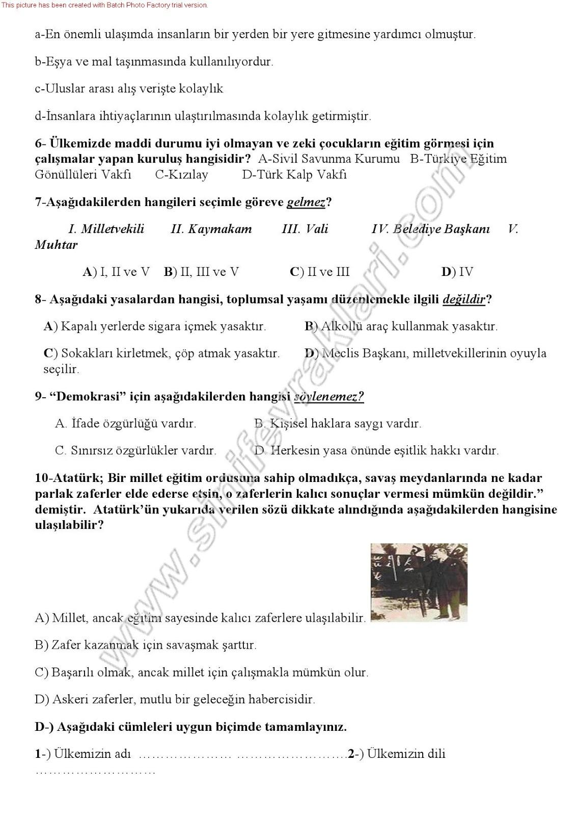 Sınıf sosyal bilgiler 7 ünite bir ülke bir bayrak ünite testi 2
