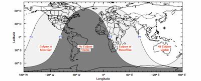 Mapa de visibilidad del eclipse lunar 28 de Noviembre 2012