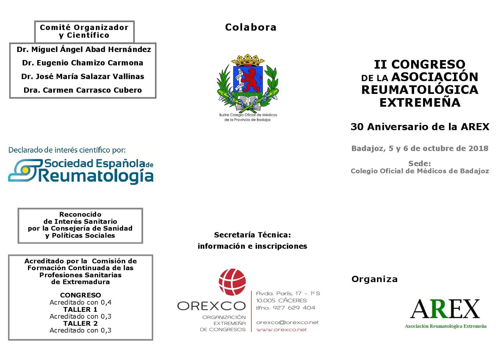 II CONGRESO DE LA ASOCIACIÓN REUMATOLÓGICA EXTREMEÑA
