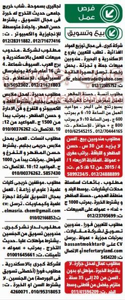 وظائف خالية بالاسكندرية تسويق ومبيعات أبريل 2015