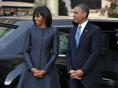 Michelle Obama With President Obama in Thom Browne Coat and Dress