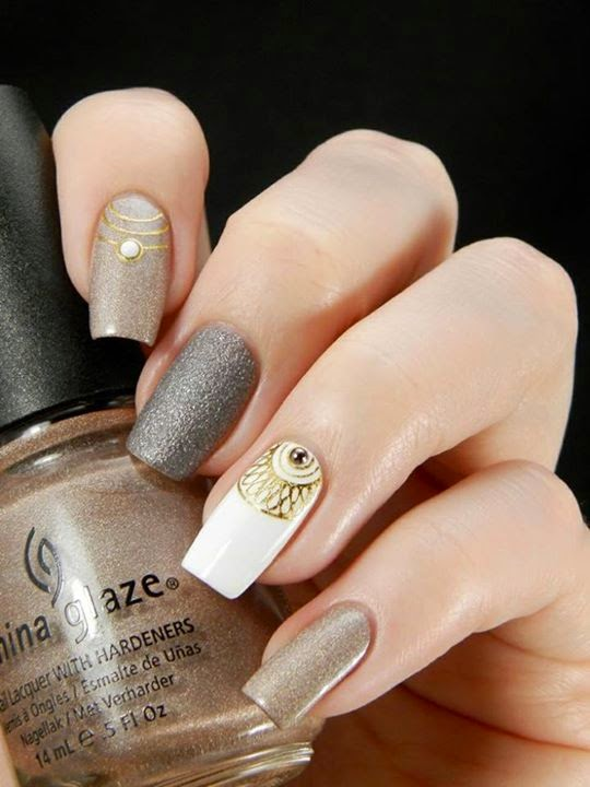 Brown Rhinestones Nail Art   Nails