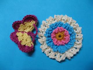 crochet flower and crochet butterfly