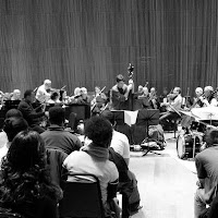Orpheus Chamber Ensemble in rehearsal with Wayne Shorter
