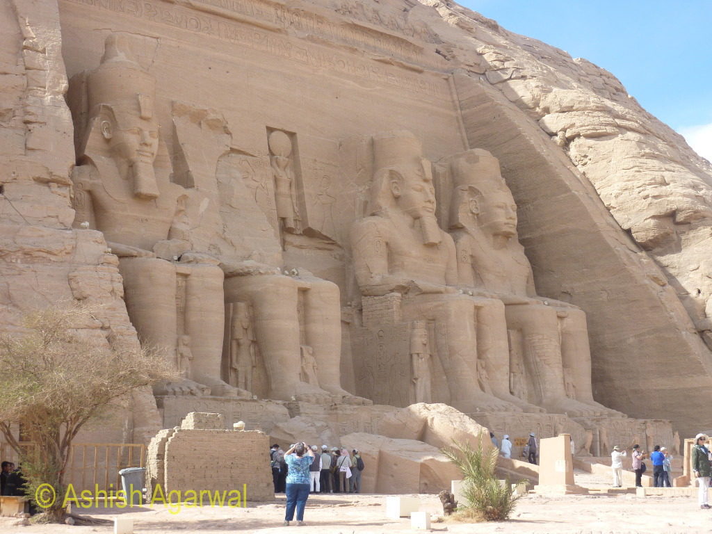 Photo of the front facade of the Great Temple of Abu Simbel in Egypt
