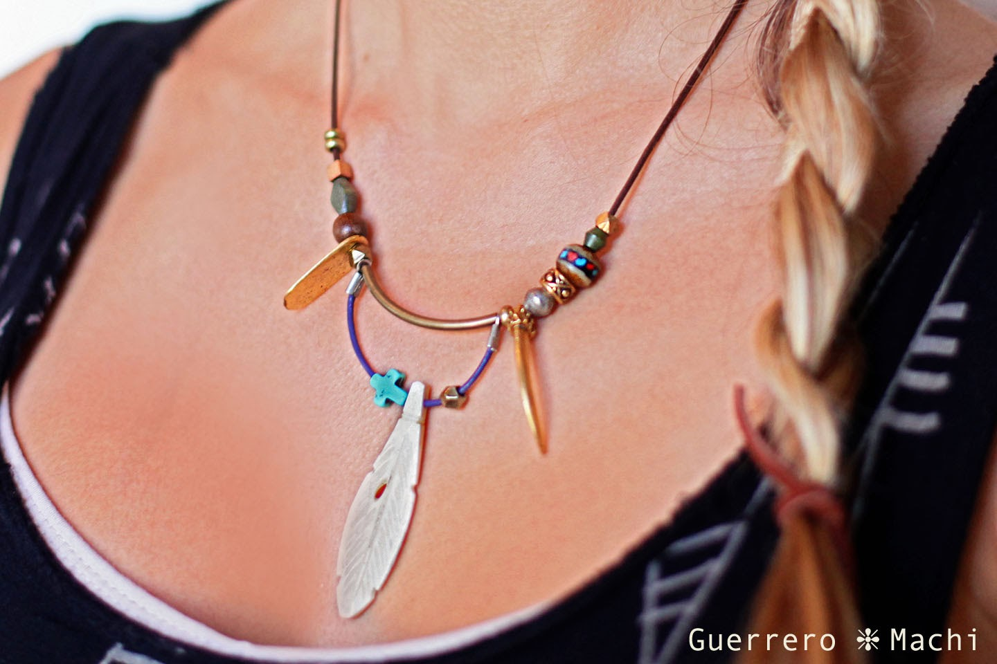 double layered feather necklace