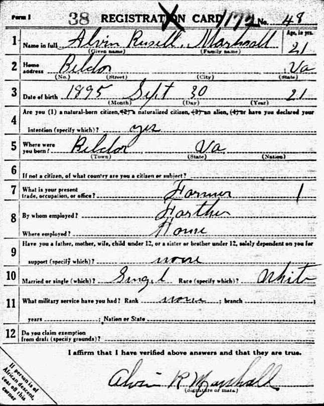 Alvin R. Marshall WWI draft registration  http://jollettetc.blogspot.com