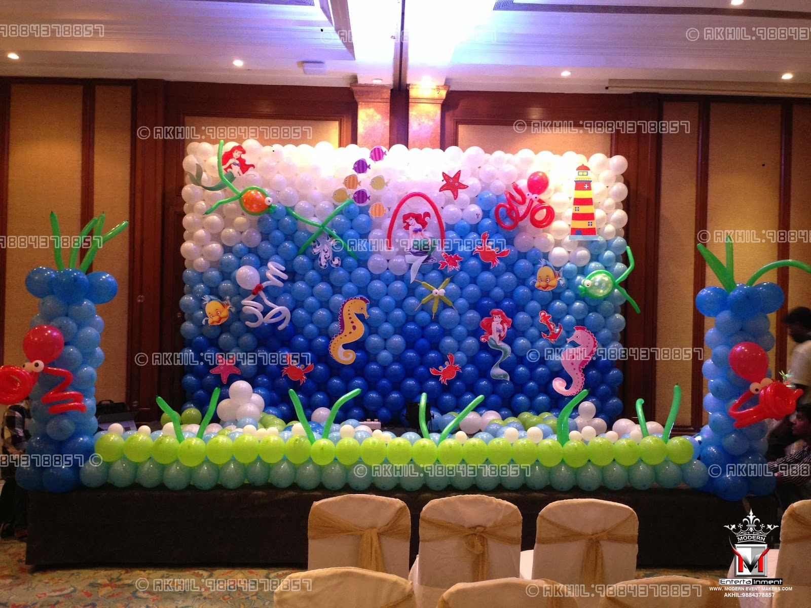 A top class balloon decorators in chennai akhil 9884378857 for Balloon decoration for stage