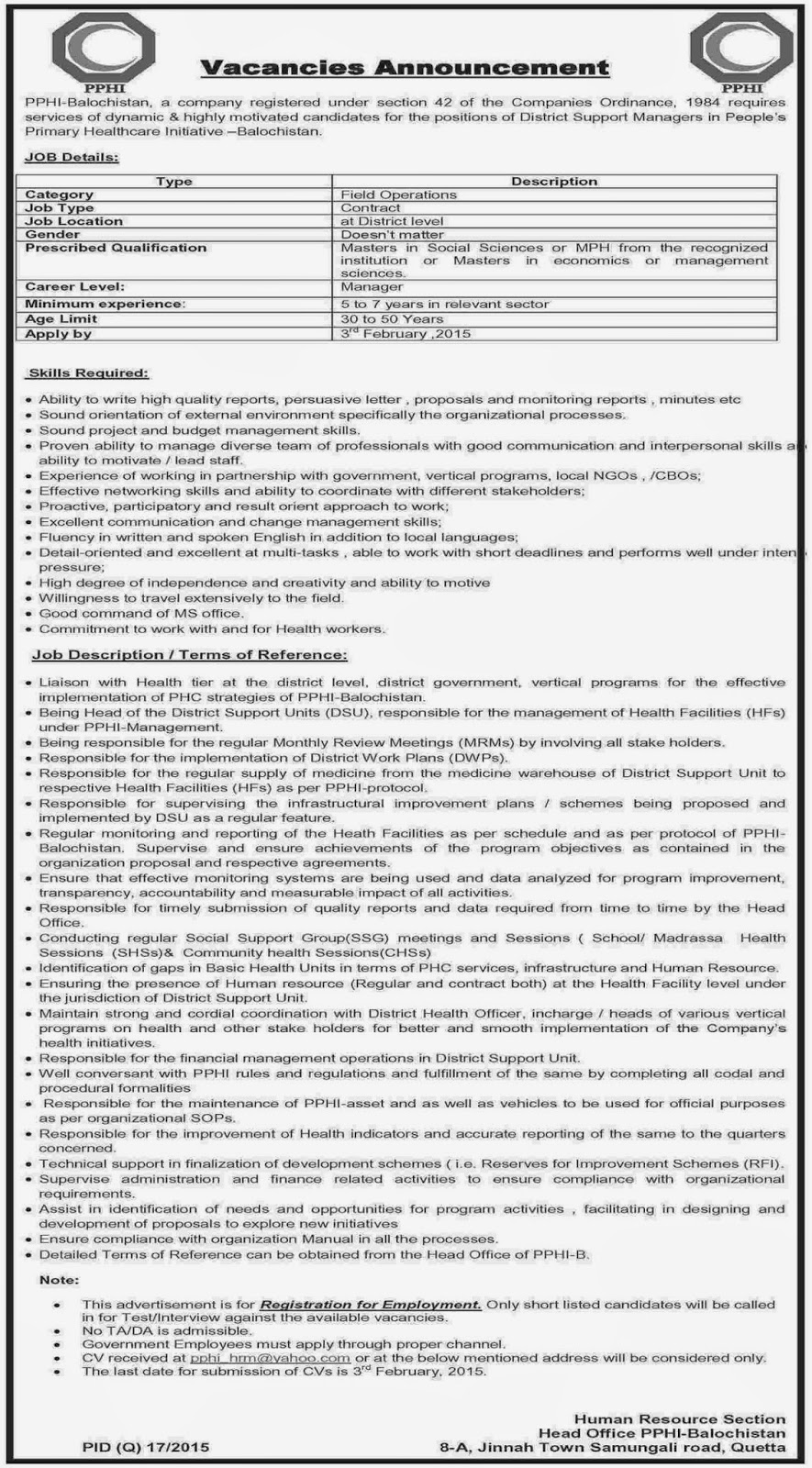 Latest PPHI Balochistan Jobs
