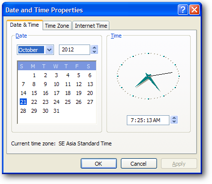 mencocokkan jam di komputer