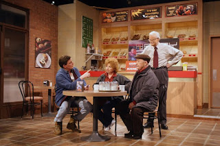 'Go home, ya bums': Dave Broadfoot's last appearance on the Royal Canadian Air Farce, with original members Luba Goy, Roger Abbott, and Don Ferguson (seated)