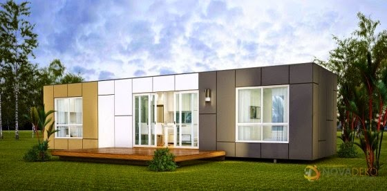 House built with container modern construction