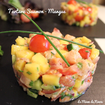 Illustration tartare saumon - mangue