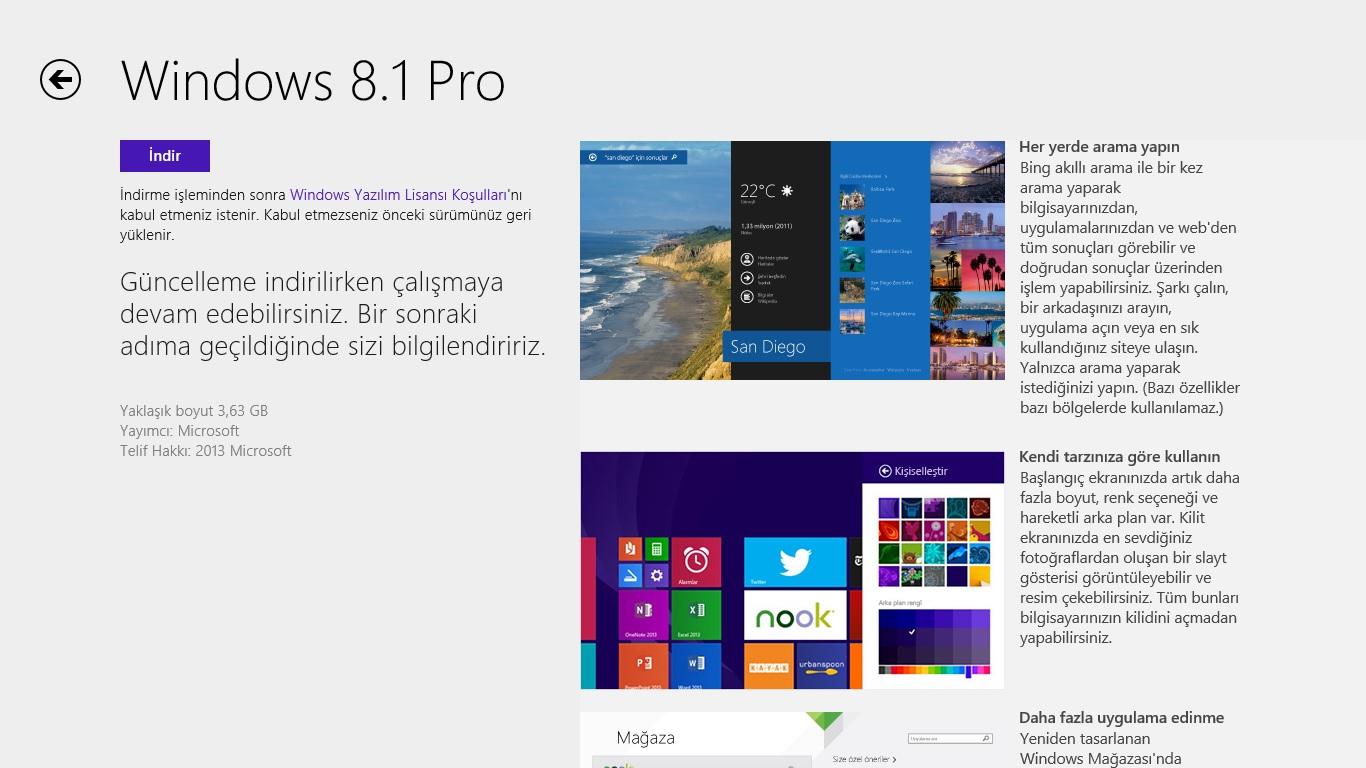 Windows 8.1 yükseltme