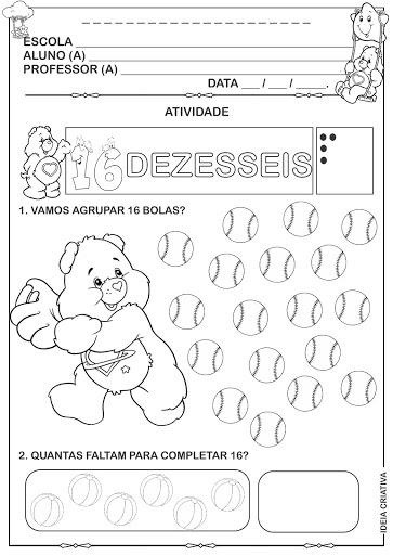 Atividade numeral 16 ursinhos Carinhosos completando contando, registrando e agrupando