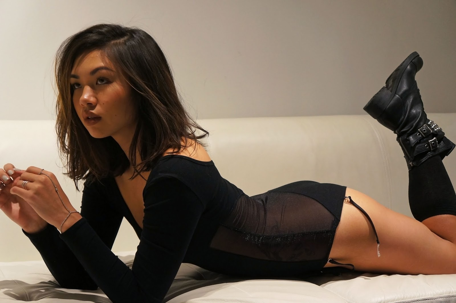 black bodysuit with black garters
