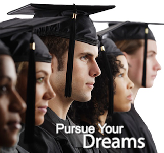 image of graduates. text: Pursue Your Dreams