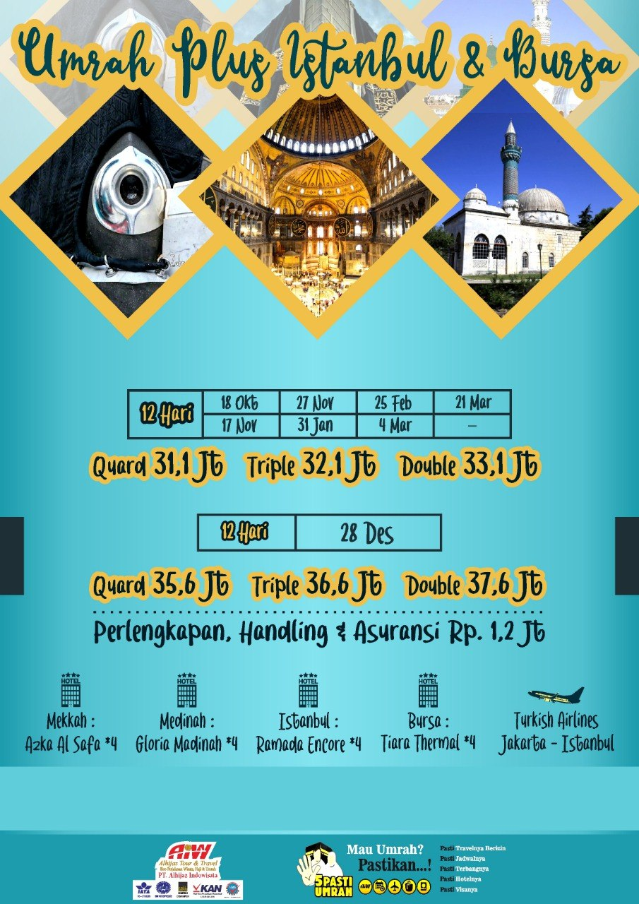 Paket Umroh Plus Turki 12 Hari 2019